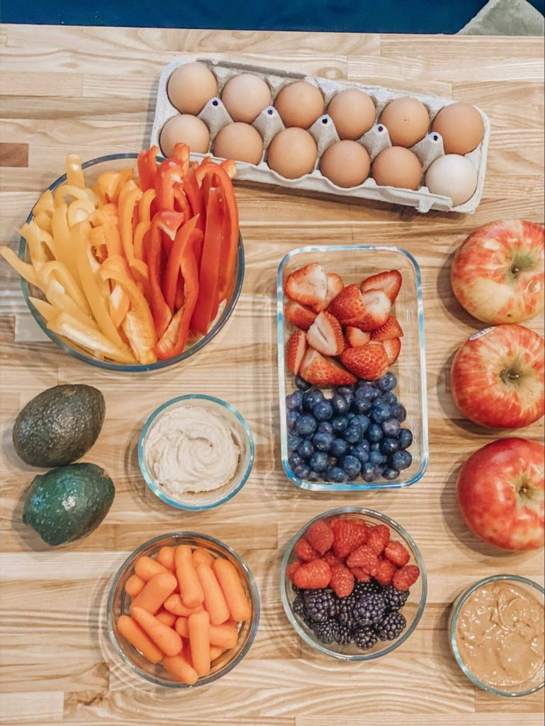 Photo of chopped veggies and fruit