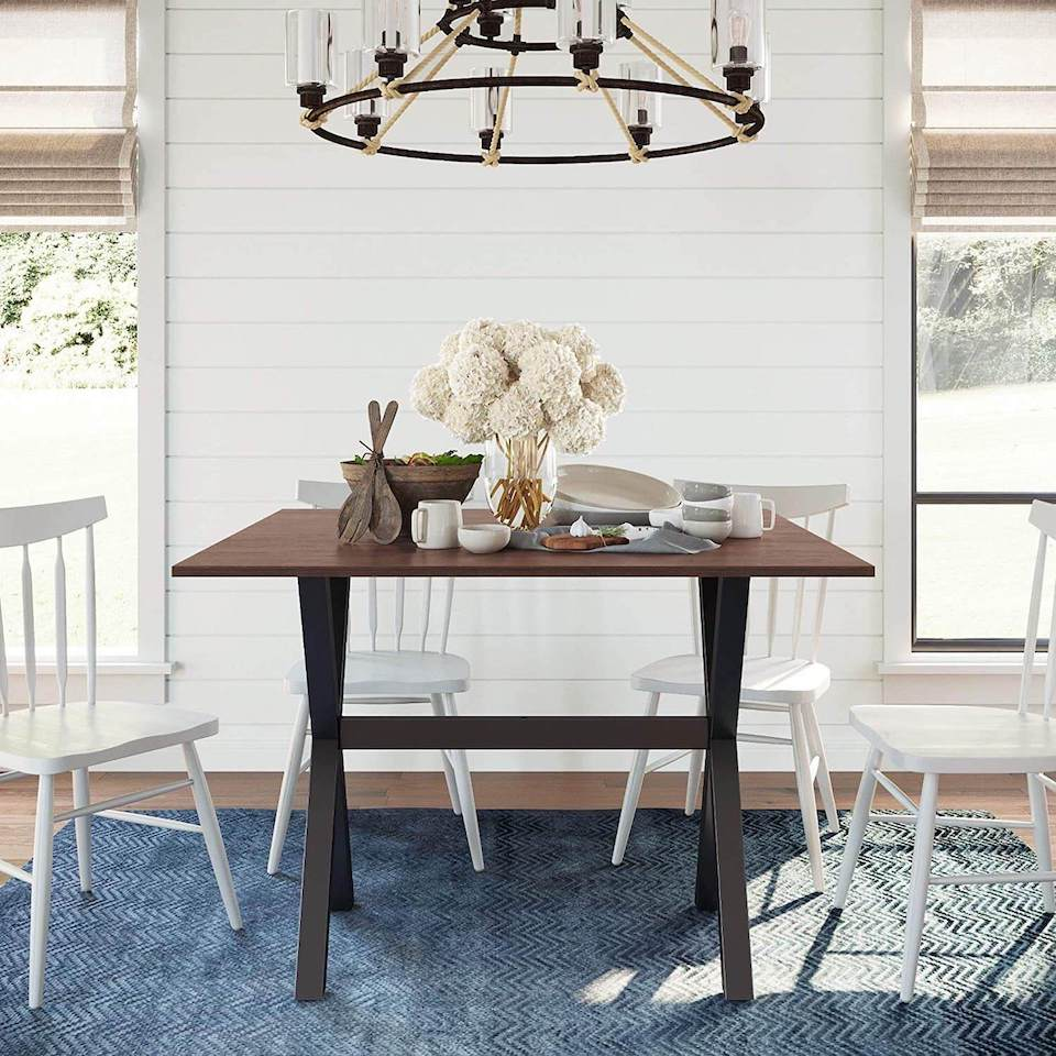 Coastal dining room with a drop leaf table in the middle