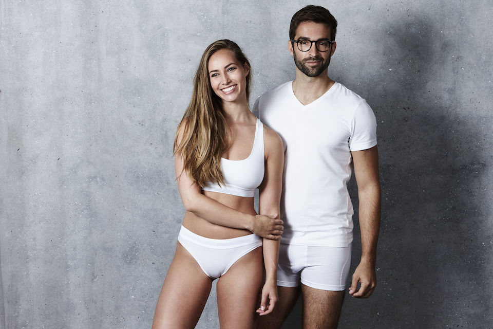Man and woman in white undergarments