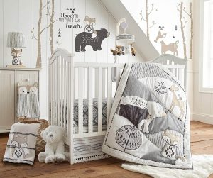 Nursery with crib and blankets