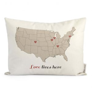 Love Lives Here Map Pillow