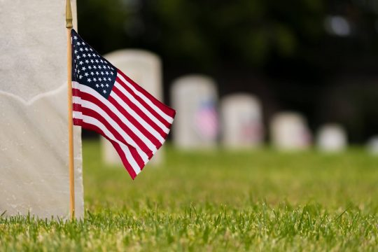 American flag at a cemetary