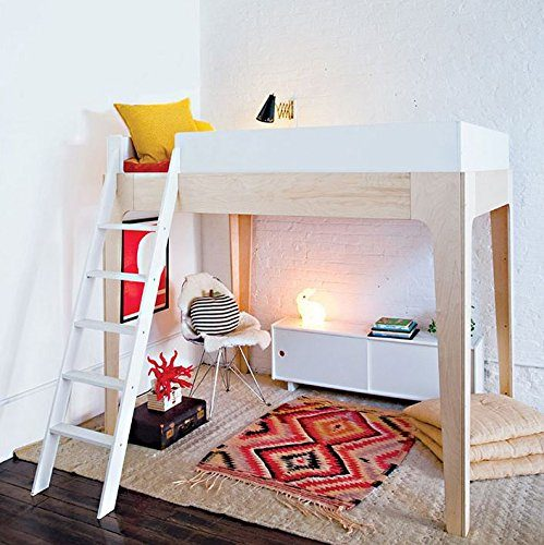 Adult loft bed with a sitting area underneath