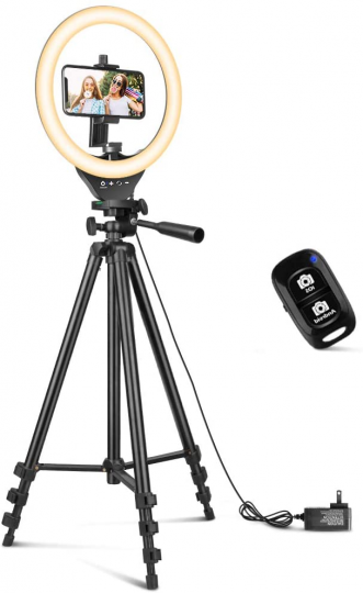 10'' Ring Light with 50'' Extendable Tripod Stand
