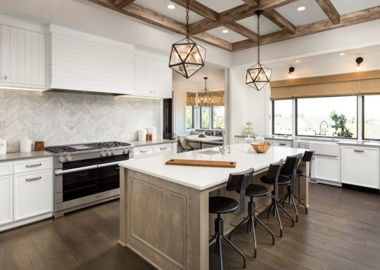 Bright kitchen with ceiling lights