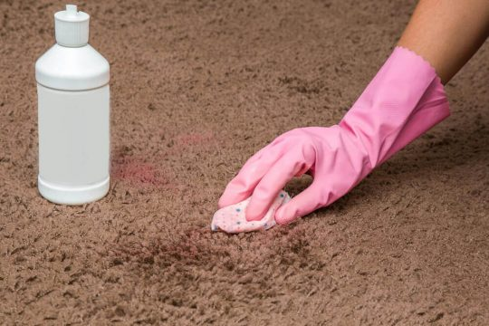 Pink gloved hand scrubbing pink nail polish out of carpet