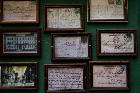 Framed antique postcards