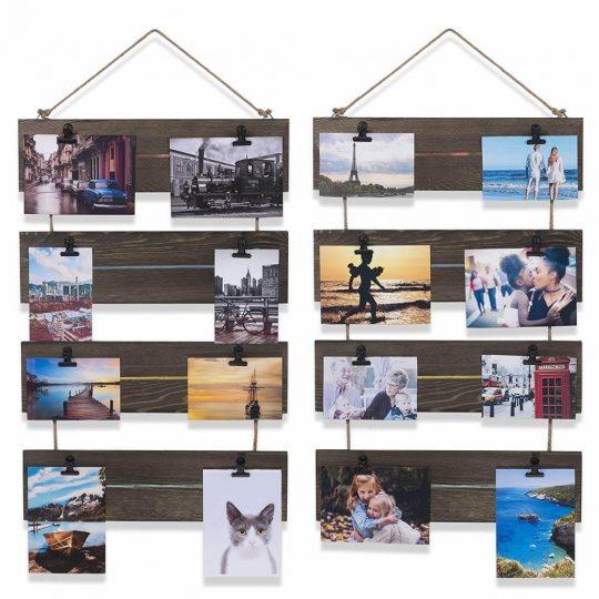 Postcards displayed on a diy wood clipboard