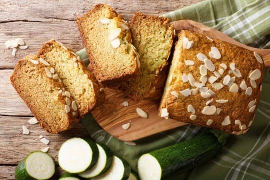 Gluten free zucchini bread on a green towl