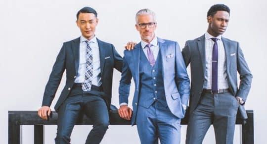 Three good looking men in custom suits