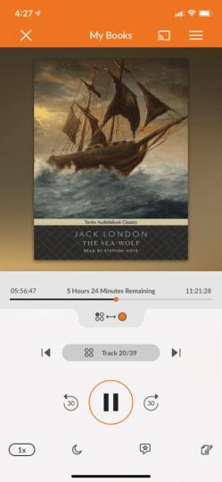 Screenshot of something using the Audiobooks.com app