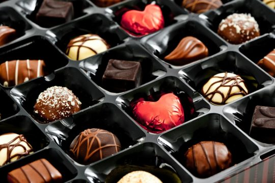 Close up of a box of chocolates