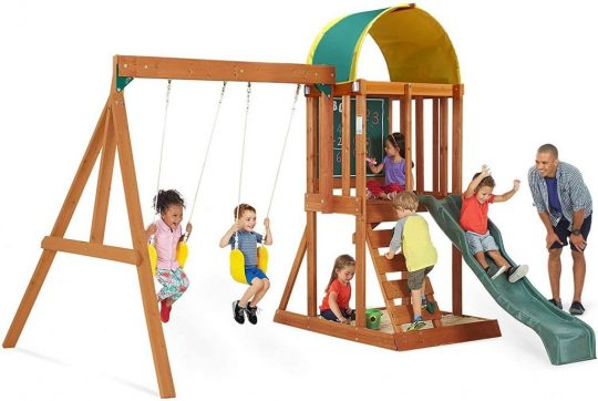 Big Backyard KidKraft Andorra Cedar Wood Swing Set