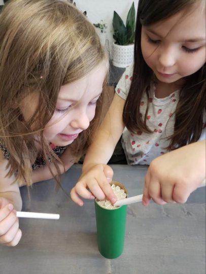 Girls making a bee home