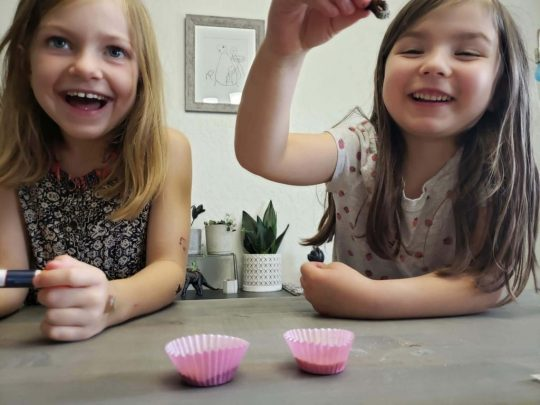 Girls testing out a pollen experiment