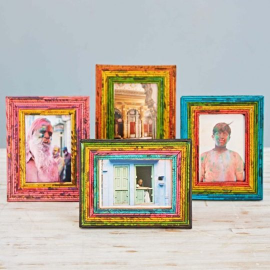 Four colorful paper frames