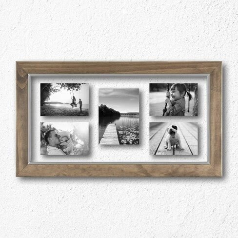 Wood frame with multiple pictures inside hanging on a wall