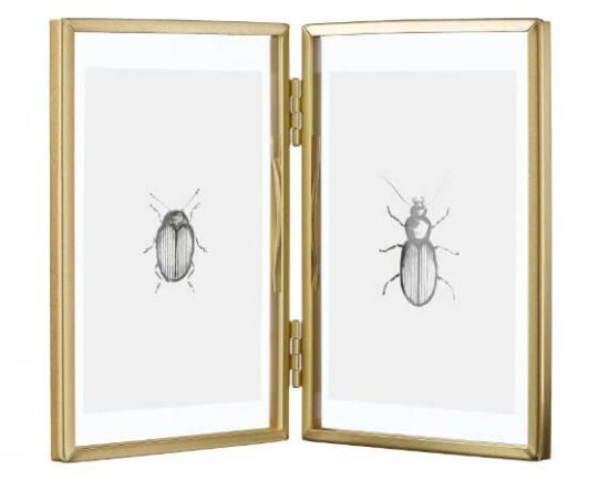 Hinged, two-picture gold frame
