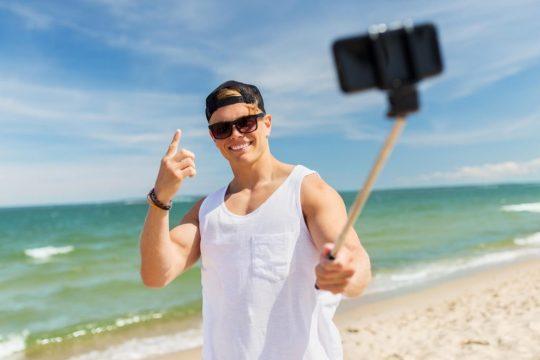 Man using a selfie stick