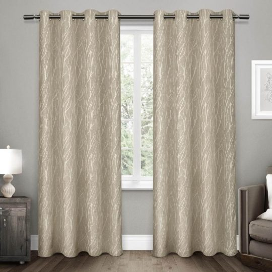 Forest Hill Woven Blackout Grommet Top Curtain Panels (Set of 2)