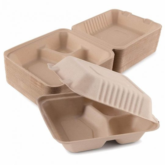 Bagasse Clamshell Takeout Container