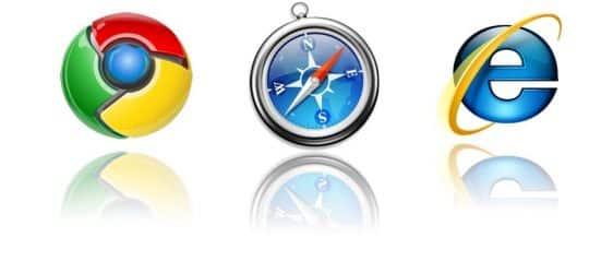 Google Chrome logo, Safari logo and internet explorer logo all in a row