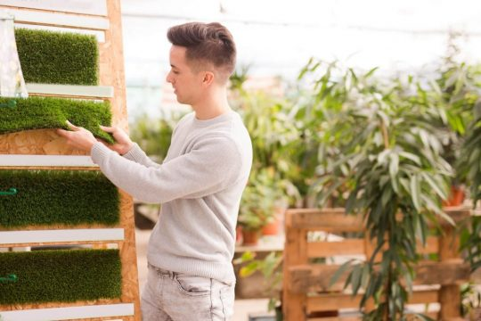 Young man shopping for artificial grass