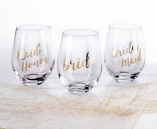 Lillian Rose Gold Maid of Honor Stemless Wine Glass