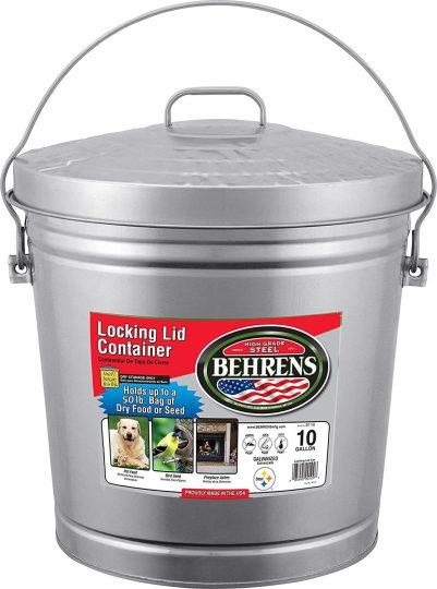 Behren's locking lid stainless steel trash can