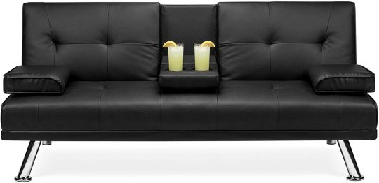 Best Choice Products Faux Leather Modern Convertible Folding Futon