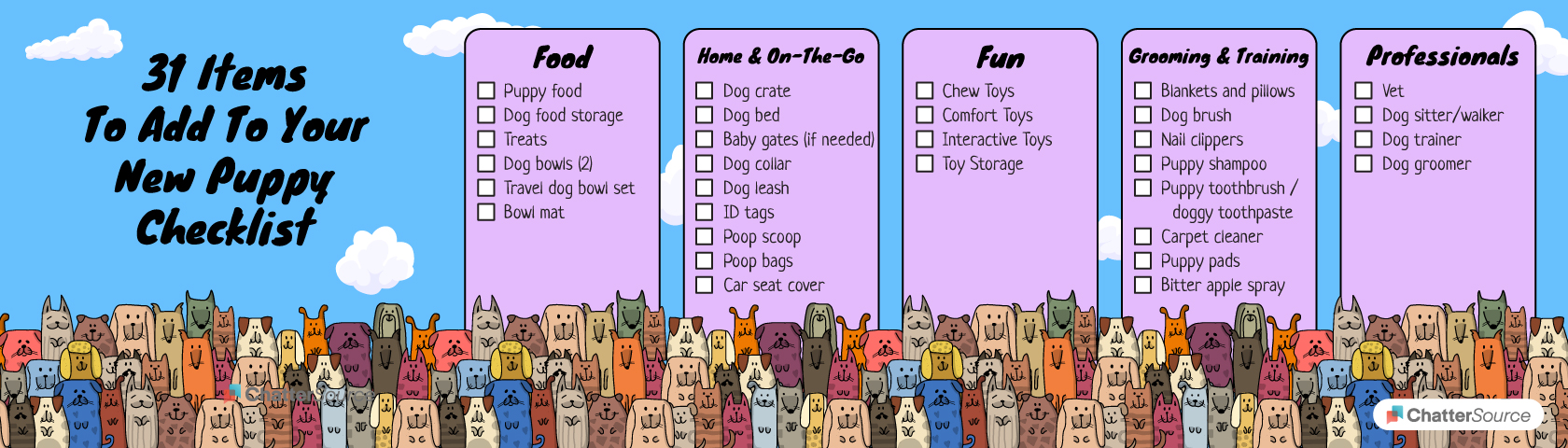 New puppy checklist infographic