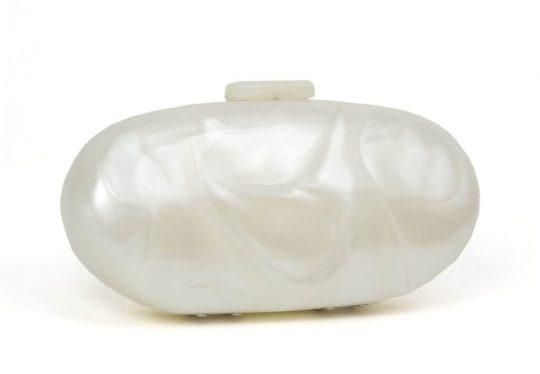 Just Jamie Pearl Oval Lucite Clutch Evening Handbag