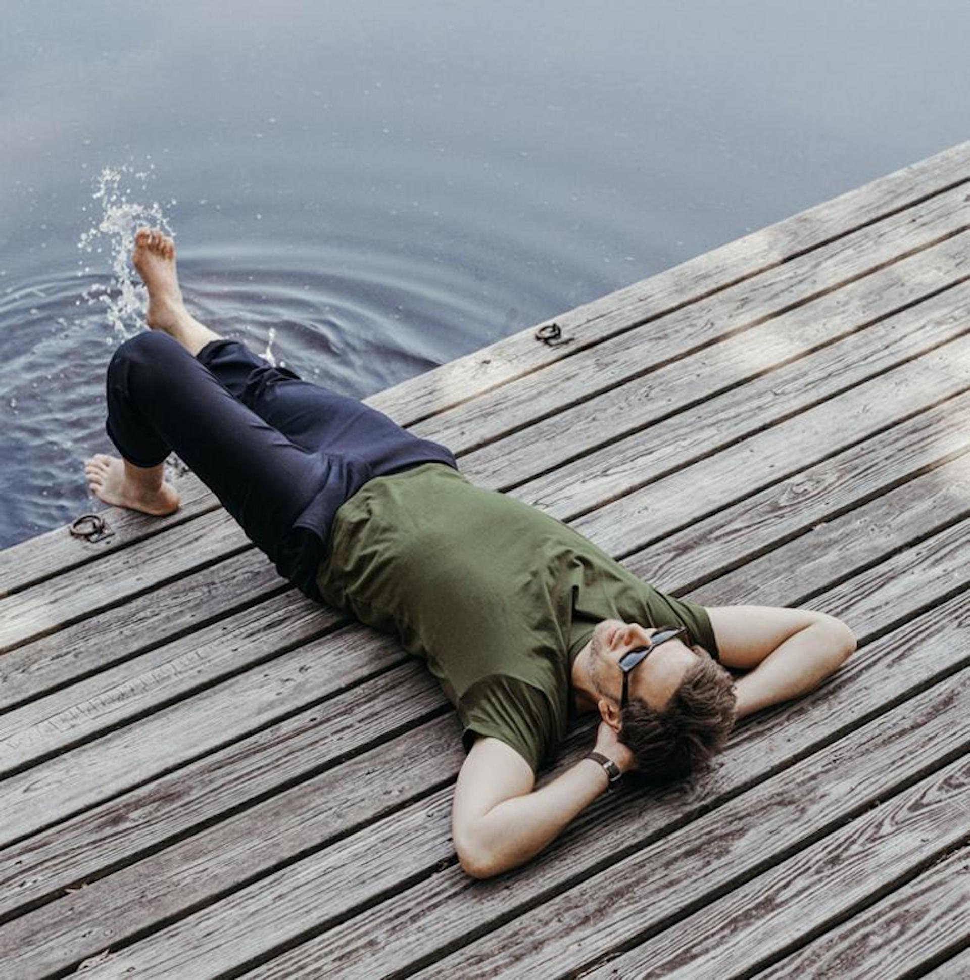 Men laying on dock in THRESHOLD CREW NECK T-SHIRT