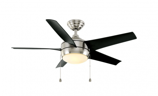 Windward 44 in. LED Brushed Nickel Ceiling Fan witih Light Kit