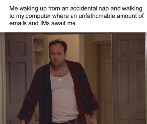 Man stumbling out of his room with text: Me waking up from an accidental nap and walking to my computer where an unfathomable amount of IMs await me.