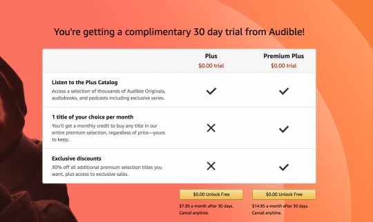 Screenshot of Audible's pricing structure