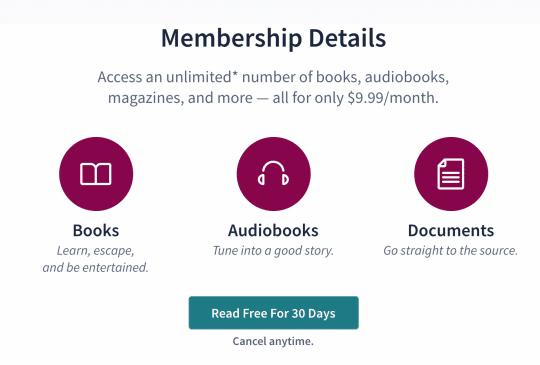 Screenshot of Scribd Membership Details