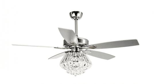 "Zuniga 52"" Indoor Chrome Downrod Mount Crystal Chandelier Ceiling Fan"