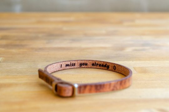 Secret message leather bracelet