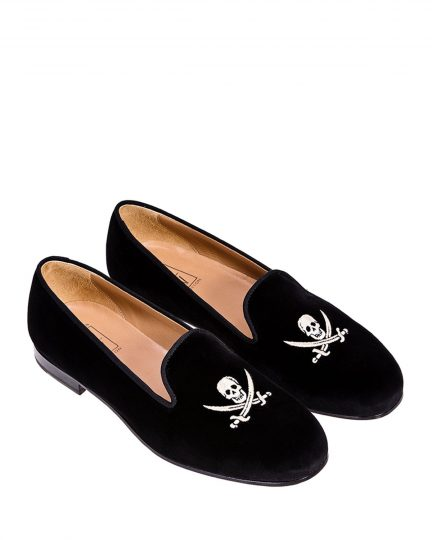 THE STUBBS AND WOOTTON VELVET SLIPPER WITH EMBROIDERED SKULL