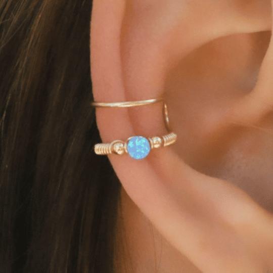 Blue gem gold ear cuff