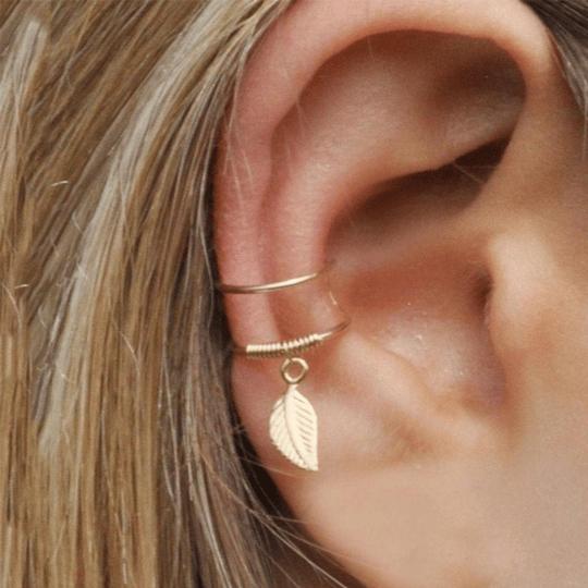 Gold ear cuff with leaf dangle