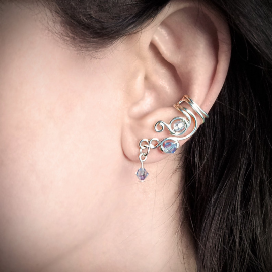 Metal ear wire with crystal jewels