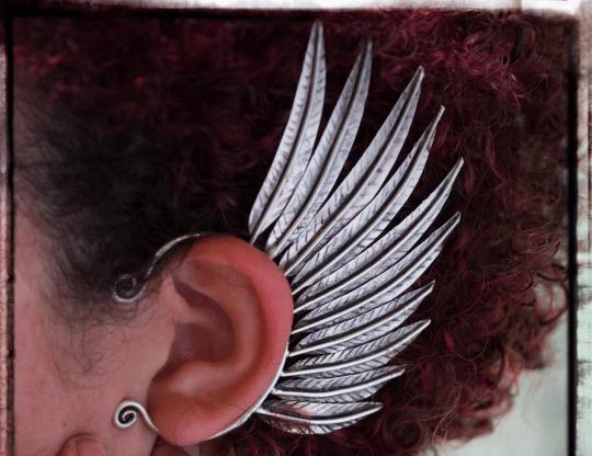 metal feather ear cuff