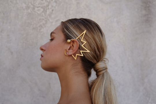 Gold metal ear cuff with lightning