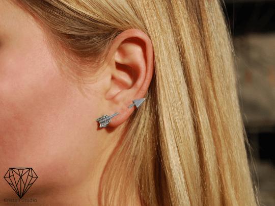 Silver Arrow Ear Art