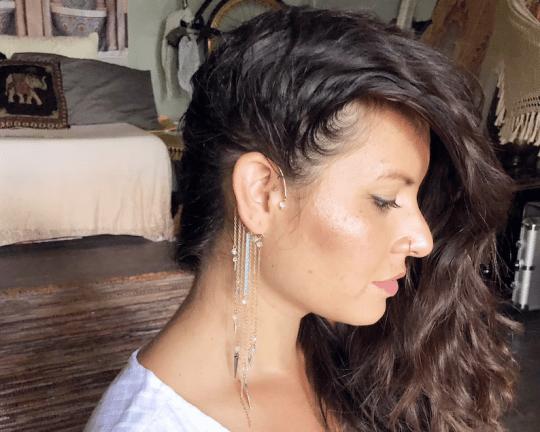 gold dangling ear cuff