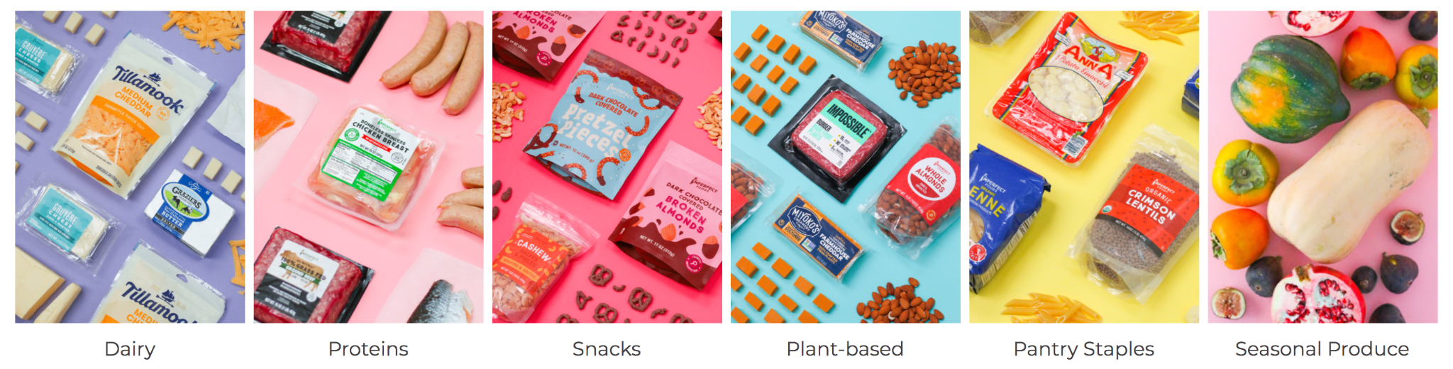 Imperfect Foods categories of Dairy, Proteins, Snacks, Plant-based, Pantry Staples & Seasonal Produce