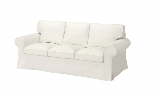 Couch covered with white ikea sofa cover