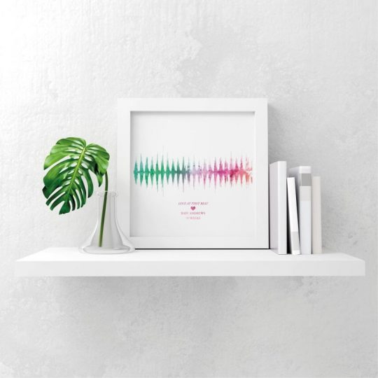 Baby's heartbeat picture on a shelf next to some books and some greenery